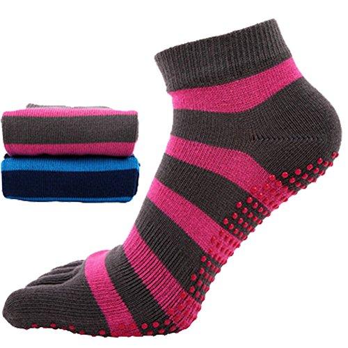 2paires Femme Chaussettes Yoga Pilates Five Finger Toe Chaussettes antidérapant Chaussettes en coton pour femmes filles