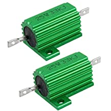 25W 33K Ohm Green Aluminum Housed Wirewound Resistors 2 Pcs