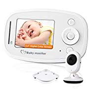 Video Baby Monitor, with Night Vision Camera, Two Way Talkback Audio and Lullaby Soother System - Including Compatible Shelf