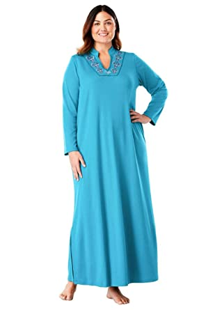 134ee1fd11 Only Necessities Women s Plus Size Long Embroidered Knit Lounger - Bright  Aqua