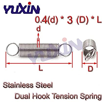 Length: 10mm Kamas 20Pcs 0.4 x 3mm 0.4mm Stainless Steel Tension Spring with Dual Hook Extension Springs Outer Diameter 3mm Length 10-60mm