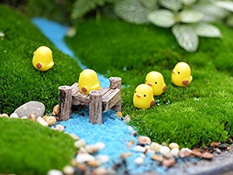 BeautyMood 10pcs Miniature Fairy Garden Herd of chickens (Yellow)