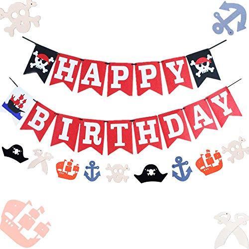 Set of 2 JeVenis Pirate Happy Birthday Banner Pirate Banner Pirate Ship Banner Pirate Party Banner Pirate Birthday Decorations for Boy Birthday Party Pirate Party Decorations ()