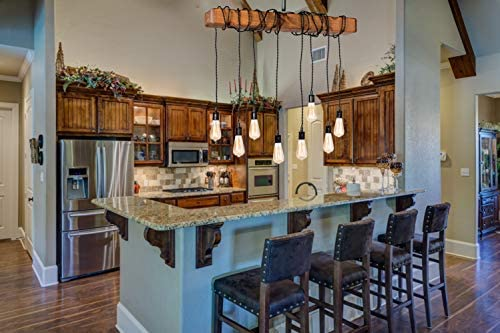 Farmhouse Lighting Wrapped Wood Beam Farmhouse Chandelier Pendant Light Fixture – Rustic Lighting Great for Kitchen Island Lighting, Dining Room, Bar, Industrial, and Billiard or Pool Table