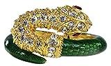 Animal Snake Bracelet Green Enamel Faux Stones Faux Ruby Red Eyes Costume Jewelry