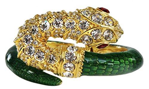 Ruby Lane Jewelry - Animal Snake Bracelet Green Enamel Faux Stones Faux Ruby Red Eyes Costume Jewelry