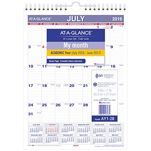 At A Glance Academic Year Monthly Wall Calendar  July 2016   June 2017  8 X11   Wirebound  Ay1 28