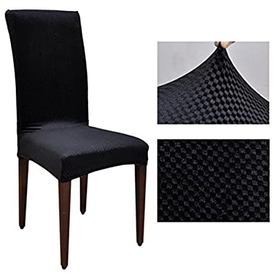 JAKY Global Solid Color Jacquard Stretch Dining Room Elastic Force Chair Slipcovers Polyester Fiber