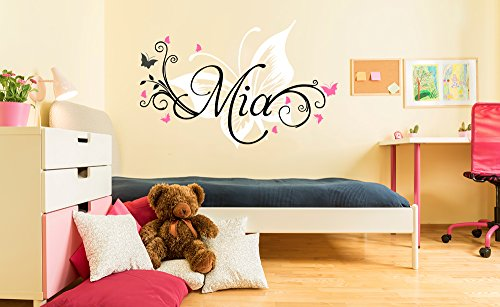 Personalized Name Butterfly Nursery - Baby Girl Decoration - Mural Wall Decal Sticker For Home Interior Decoration Car Laptop (Wide 32