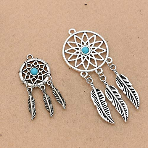 Pasona- Charms - Antique Silver Plated Dreamcatcher Charm for Jewelry Making Bracelet Accessories DIY Jewelry Findings - by Pasona - 1 PCs -