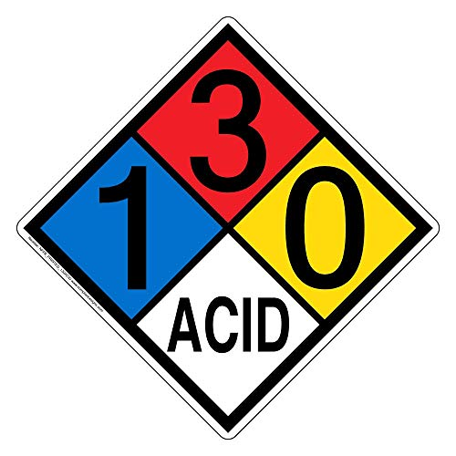 (NFPA 704 1-3-0-Acid Sign, 15 in. Aluminum for Hazmat, Made in The USA by ComplianceSigns )