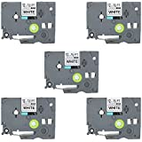 5 Pack TZe-231 TZe 231 TZe231 Laminated Label Tape Black on White for Brother P-Touch Label Maker (12 mm x 8 m),TIANSE