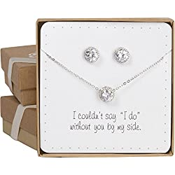 "Bridesmaid Gift Set - Pretty Halo Cubic Zirconia Necklace & Earrings Set (18"", rhodium plated)"