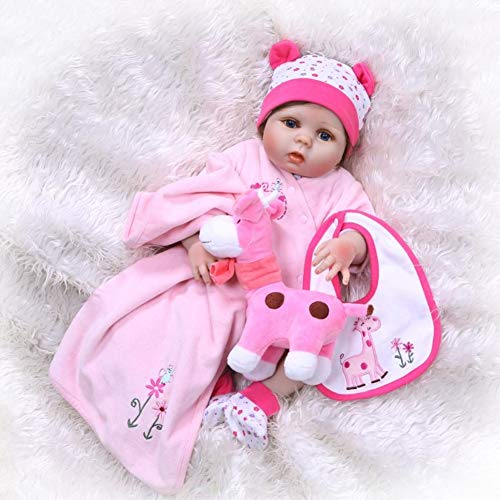 Binxing Toys Reborn Baby Dolls Silicone Full Body Girl 22 inch 56cm Real Toddler Bebe Doll Waterproof with ( Bottle Toy, Magnet Pacifier ,Clothes ,Puppet Toy 6-Piece Set, Safety Tested for 3+