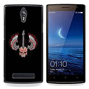 Eason Shop / Premium SLIM PC / Aliminium Casa Carcasa Funda Case Bandera Cover - Cráneo Alas Guitar Rock Heavy Metal Música - For OPPO Find 7 X9077 X9007