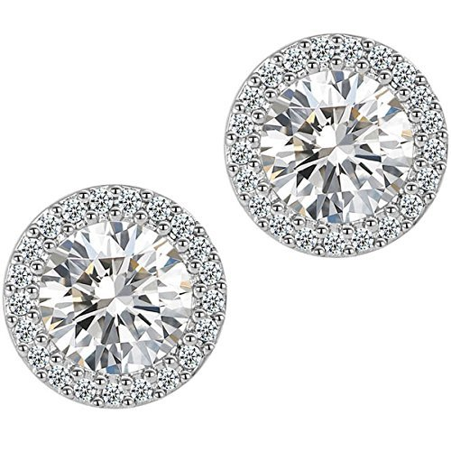 Cubic Zirconium Stone (Stud Earrings,Fashion Jewelry  Cubic Zirconia Halo Earrings for Women)