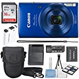 Canon PowerShot ELPH 190 is Digital Camera (Blue) with 10x Optical Zoom and Built-in Wi-Fi with 16GB SDHC + Replacement Battery + Protective Camera case Along with Deluxe Cleaning Bundle