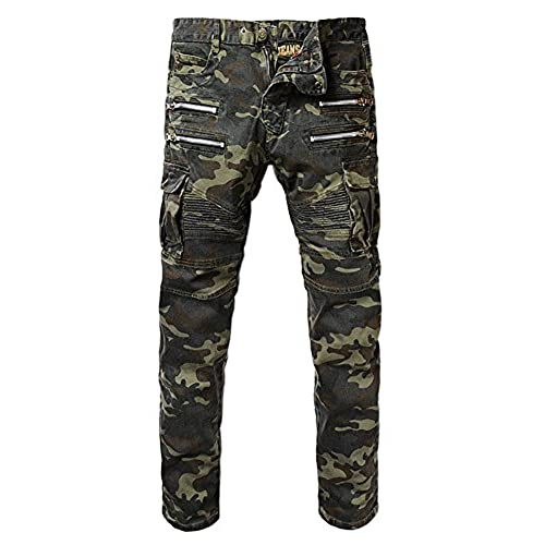 Denim Mens Camouflage Pockets Slim Biker Jeans Size 36