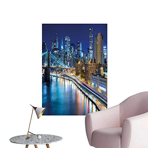 Wall Stickers for Living Room New York City Manhattan Bay at Night Lights Skyscrapers Multicolo Vinyl Wall Stickers Print,24