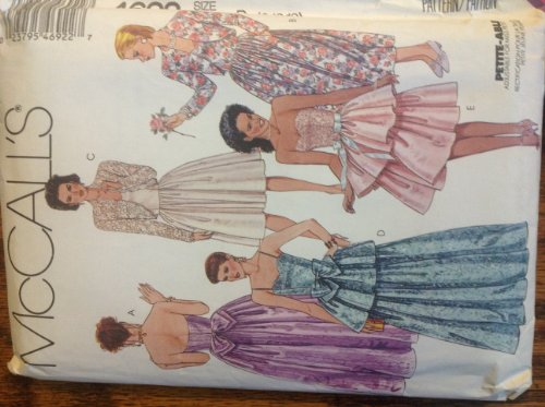 Mccalls 4692 Misses 8-10-12 Sweetheart Neckline Strapless or Spaghetti Strap Evening Gown or Cocktail Dress with Overlay-peplum Skirt, Ribbon or Bow At Fitted Seamed Waist, Zipper Back, & Illusion Lace or Solid Bolero Jacket Sewing Pattern