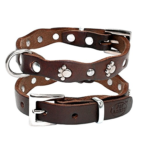 - PET ARTIST Luxury Genuine Leather Dog Collar-Handmade for Small/Medium Dog Breeds with The Finest Real Leather-Full Grain Latigo Leather and Stylish Strong Dog Collar