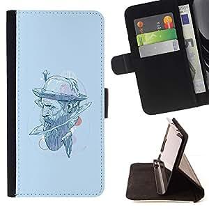 Momo Phone Case / Flip Funda de Cuero Case Cover - Sombrero del inconformista;;;;;;;; - HTC One M7