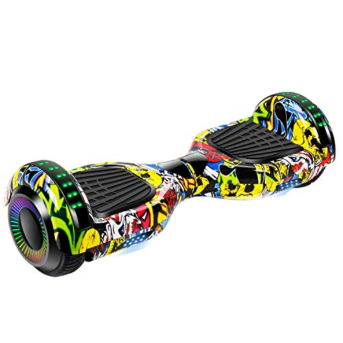 UNI-SUN 6.5 Hoverboard for Kids,Bluetooth Hover Board, Self Balancing Hoverboard with Bluetooth and LED Lights for Adults, UL 2272 Certified Hover Board Bluetooth Graffiti