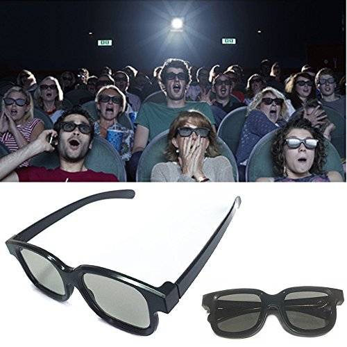 3d Glasses,Hongxin Black Frame Universal 3D Plastic Glasses/Oculos/Red Blue Cyan 3D Glass Anaglyph 3D Movie Game VideoTV DVD Vision/Cinema Creative Gift (Black)