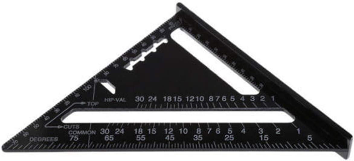 GZ HaiQianXin Regla de medici/ón triangular 7 pulgadas de aluminio 90 grados Regla de tri/ángulo de 45 grados para topograf/ía electricidad mapeo