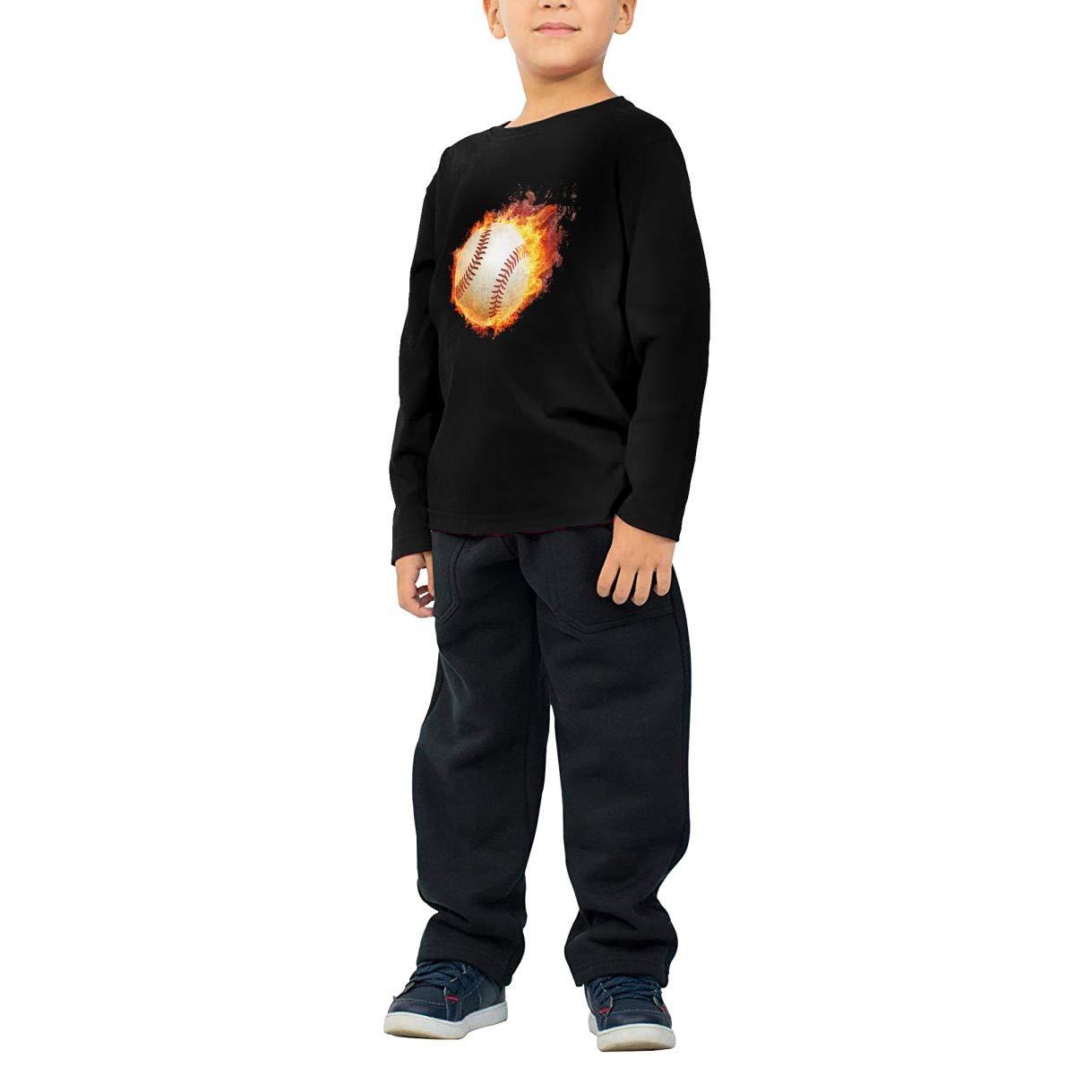 COTDREN Burning Baseball Boys Cotton Long Sleeve Tshirt
