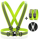 Reflective Vest Straps NEW Premium Design + 1 Pair of High Visible Bands for Arm / Wrist / Ankle | Safety Gear for Running, Walking, Jogging, Cycling, Workers, Motorcycle | (Yellow / Green, L - 3XL)