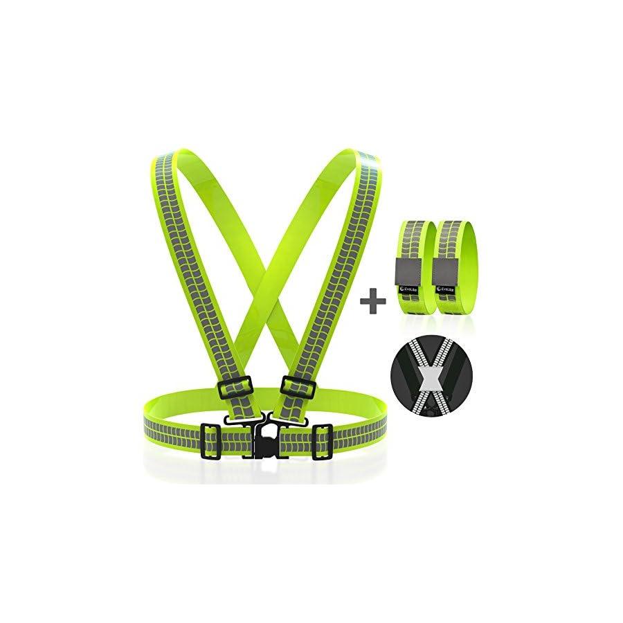 Evolike Reflective Vest Straps Premium Design 1 Pair Of High Fueltbelt Neon Visible Bands For Arm