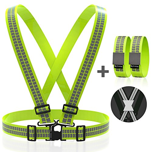 Reflective Vest Straps NEW Premium Design + 1 Pair of High Visible Bands for Arm / Wrist / Ankle | Safety Gear for Running, Walking, Jogging, Cycling, Workers, Motorcycle | (Yellow / Green, L - 3XL) (Coat Of Arms Dark T-shirt)