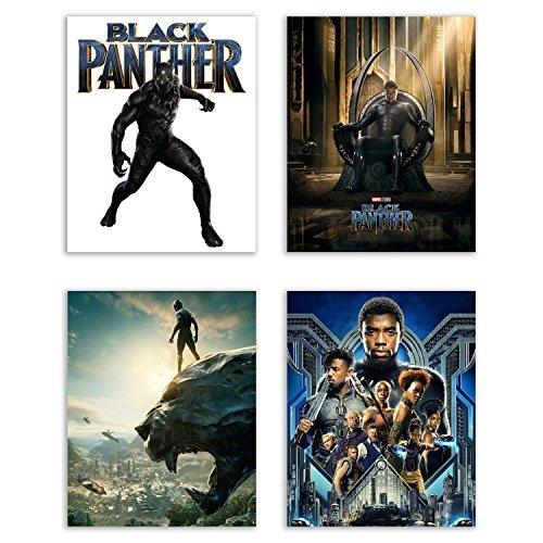 - Black Panther (2018) Movie Poster Prints - Set of 4 Avengers Marvel Comics Wakanda Decor Wall Art Photos 8x10