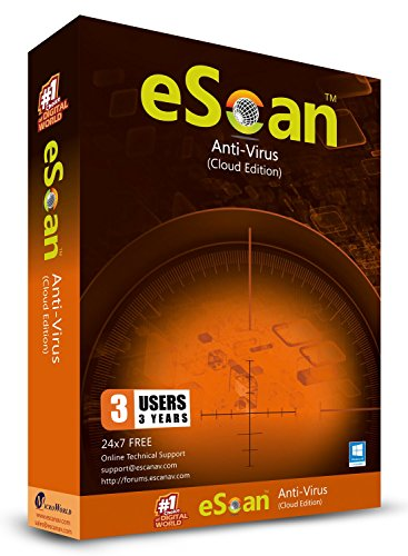 eScan Antivirus with Cloud Security Total protection 2019 Anti Ransomware Internet Security | 3 Devices 3 Years [Windows XP & above PC Laptops] (Best Antivirus Program For Windows 8)