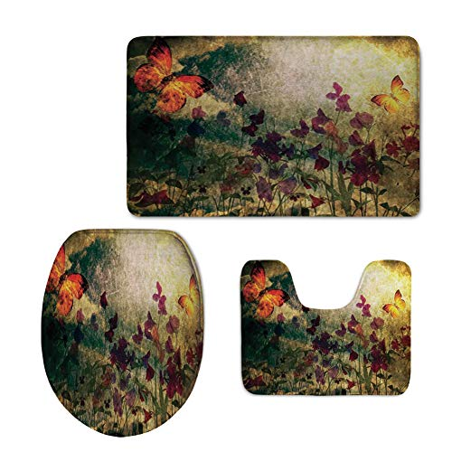 Pooh The Carpet Winnie (iPrint Toilet Carpet Floor mat,Butterfly,Vintage Inspired Burnt Murk Design Poppy Flowers on Meadow Retro Old Style,Multicolor,3 Piece Shower Mat Set)