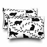 InterestPrint Cat Silhouette Animal Tracks White Pillow Cases Pillowcase Standard Size 20x30 Set of 2, Rectangle Pillow Covers Protector for Home Couch Sofa Bedding Decorative