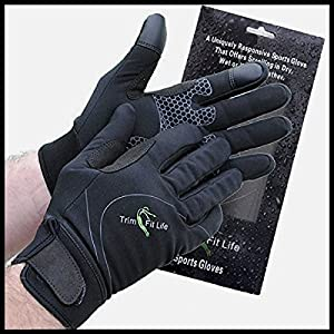 SportyGlove-Top Rated Windproof Breathable Water Resistant Running Gloves for Women and Men. Perfect for All Sports Outdoors & Best Touch Screen Feeling When Texting on Smartphone or Tablets (Large)