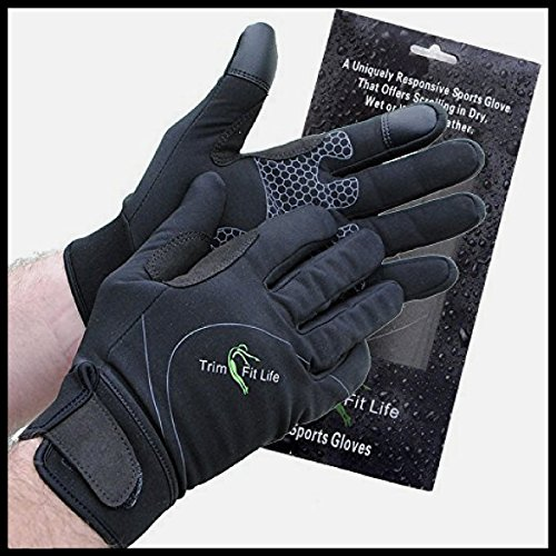 Windproof, Breathable Workout Gloves For Men And Women. Perfect For Running, Gym, Cycling And Biking. Work Brilliant As Hiking Gloves. Black, Water Resistant Neoprene,Touch Screen Function. (Neoprene Full Finger)