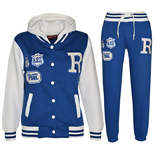 Kids Girls Boys Hooded Baseball Varsity Tracksuit Hoodie Bottom Set Joggers 7-13 by a2z4kids (Image #1)