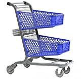 Advance Carts 12005 Shopping Cart, Blue Plastic, Granite Powder Coat, 105 L