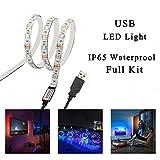 Simfonio USB LED Strip Lights 1M 30LEDs IP65 Waterproof 5050 RGB TV LED Strip With Mini Controll