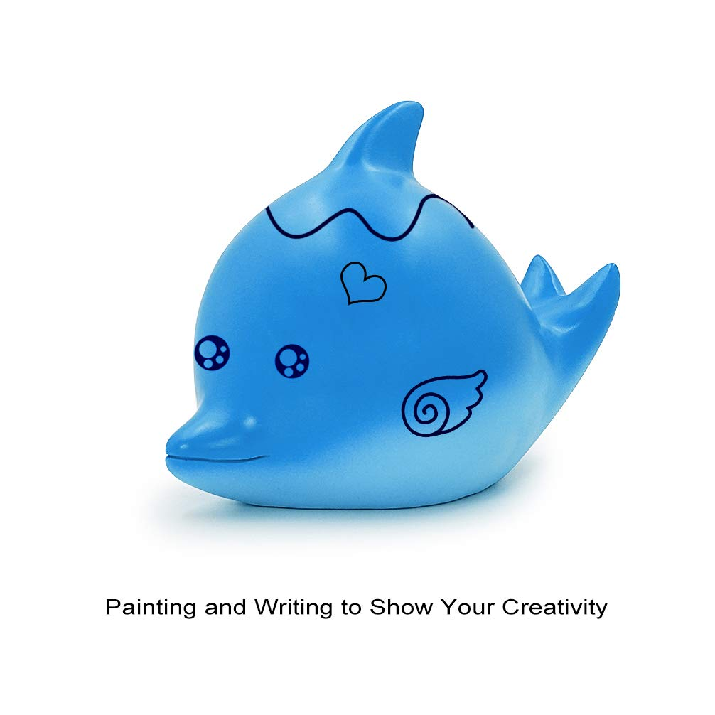 DreamsEden Cute Durable Dolphin Piggy Bank for Boys Girls Painting and Writing to Create Your Own Funny Toys