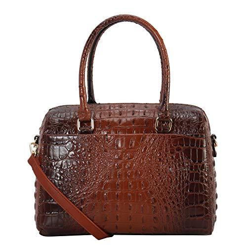Crocodile Coffee Handbag - Women Satchel Handbags purses Cross Body Trendy Shoulder Bag Ladies Designer Tote Messenger Bags (Coffee color)