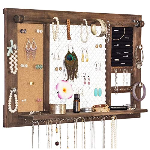 (SoCal Buttercup Deluxe Rustic Wood Jewelry Organizer - from Hanging Wall Mounted Wooden Jewelry Display - Organizer for Earrings, Necklaces, Bracelets, Studs, and Accessories)