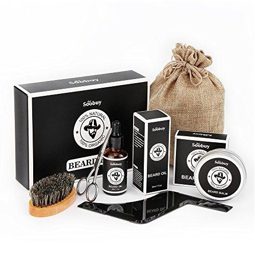 Beard Kit for Men, Beard Growth Grooming & Trimming with Conditioner Oil, Beard Balm Butter Wax, Beard Brush, Beard Shaping & Styling Tool, Beard Scissors, Gifts for Men Dad