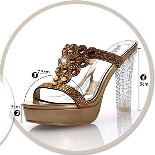 Taille Talons Chaussures Pantoufles 35 À Cool Fish Hauts Femme Bouche Sandales Femmes Taiwan Sexy Hwf Couleur Imperméable Or xdawqXBxA