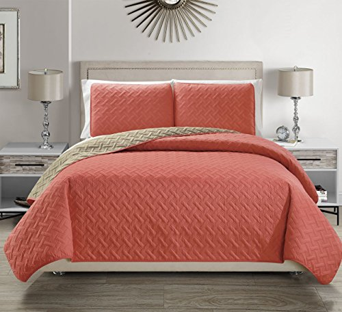 Embossed Coral Reversible Bedspread/Quilt Set Cal King (Coral Quilt Set)