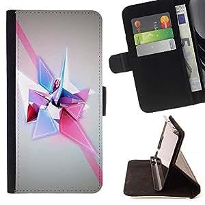 For Samsung Galaxy Note 4 IV Case , Formas Polígono Púrpura Rosa- la tarjeta de Crédito Slots PU Funda de cuero Monedero caso cubierta de piel