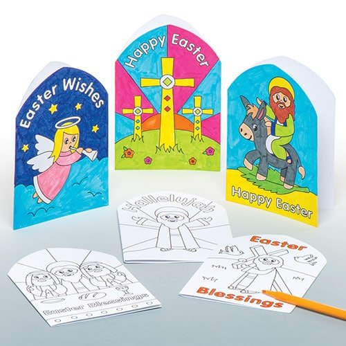 Pack of 6 Baker Ross Holy Week Color-in Cards for Kids Perfect for Childrens Arts Crafts and Decorating for Boys and Girls
